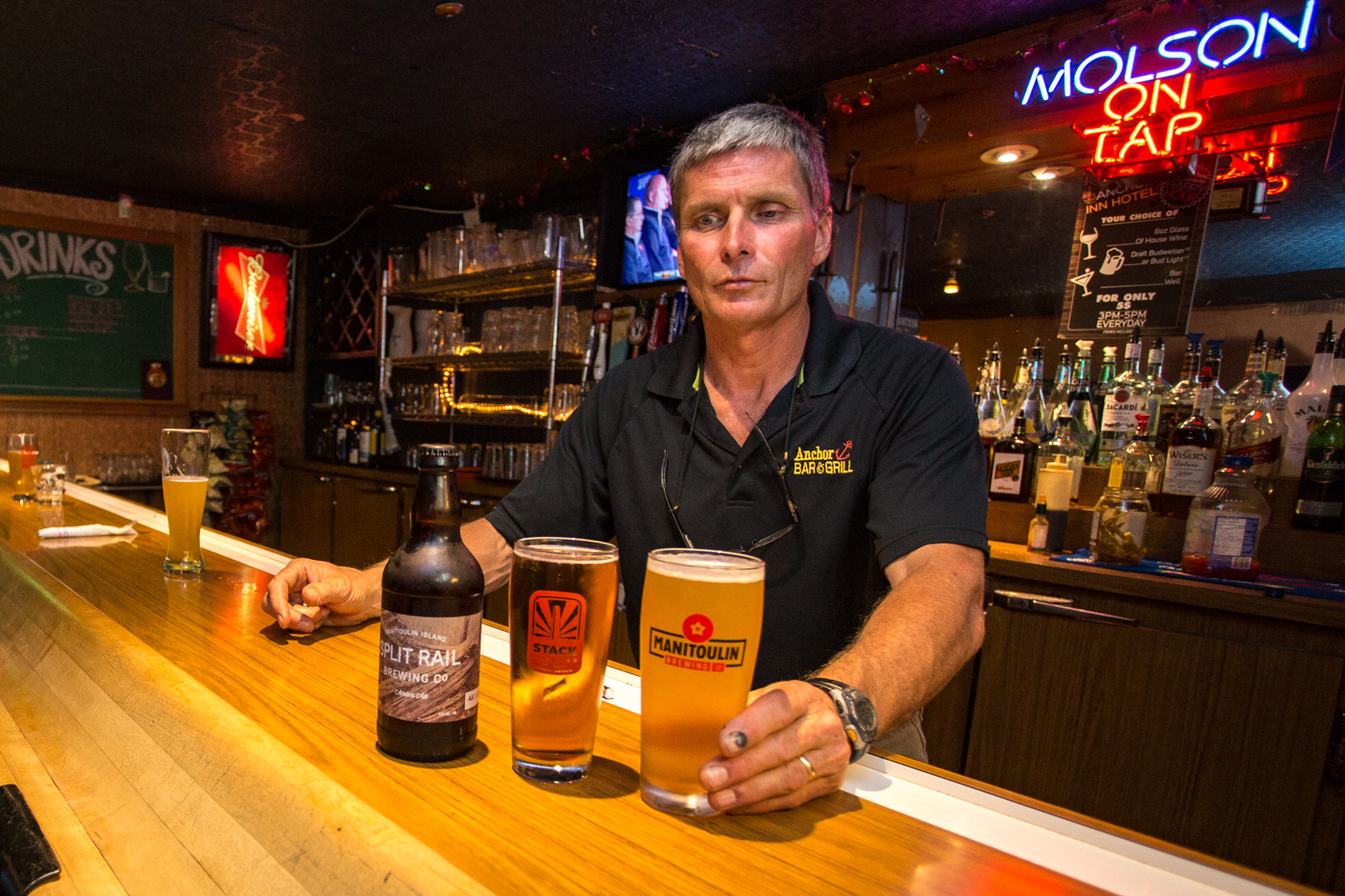Local brews on tap at the Anchor Inn Hotel.