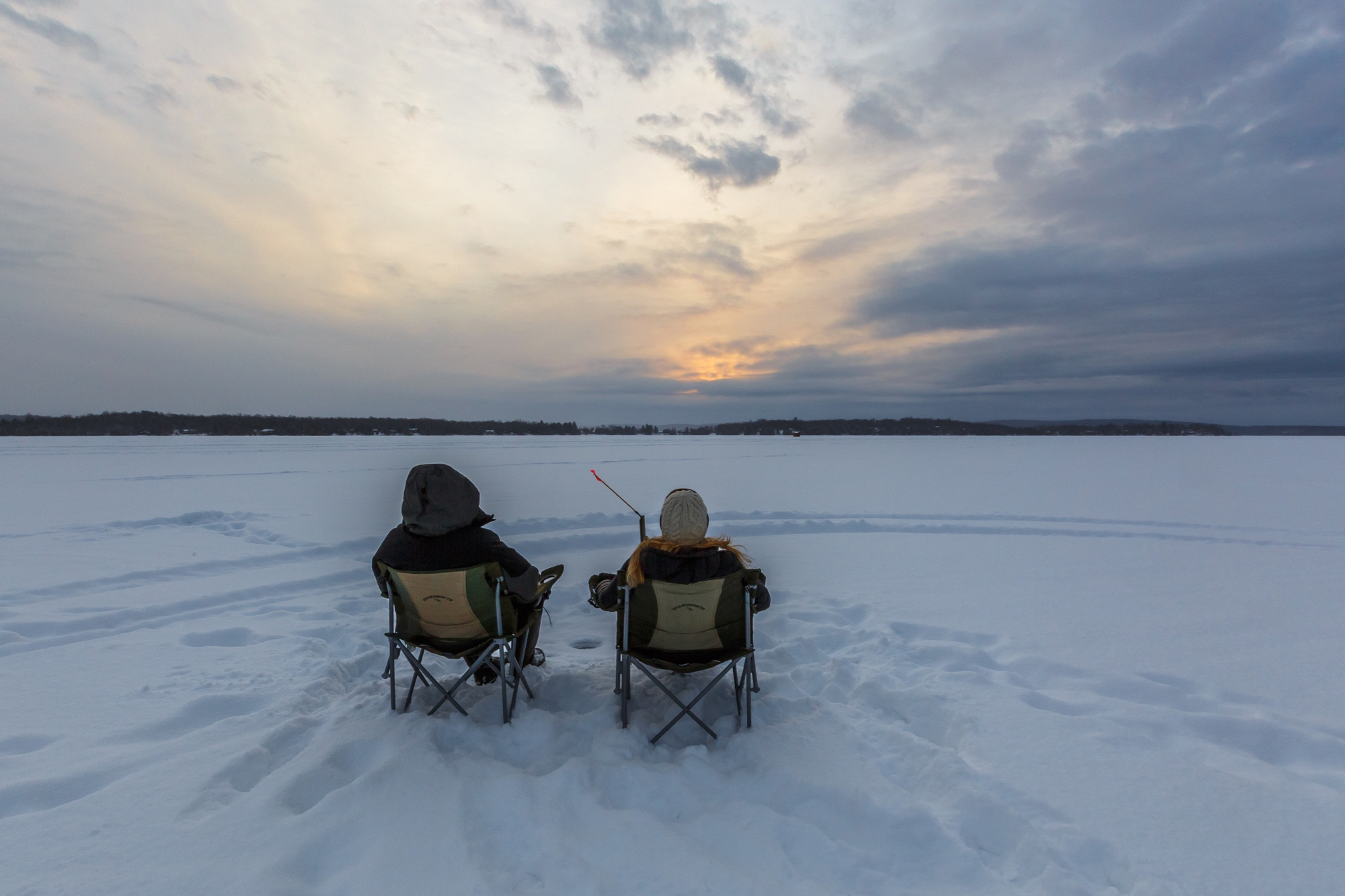 Ice Fishing For Two At Big Moose Camp Northeastern