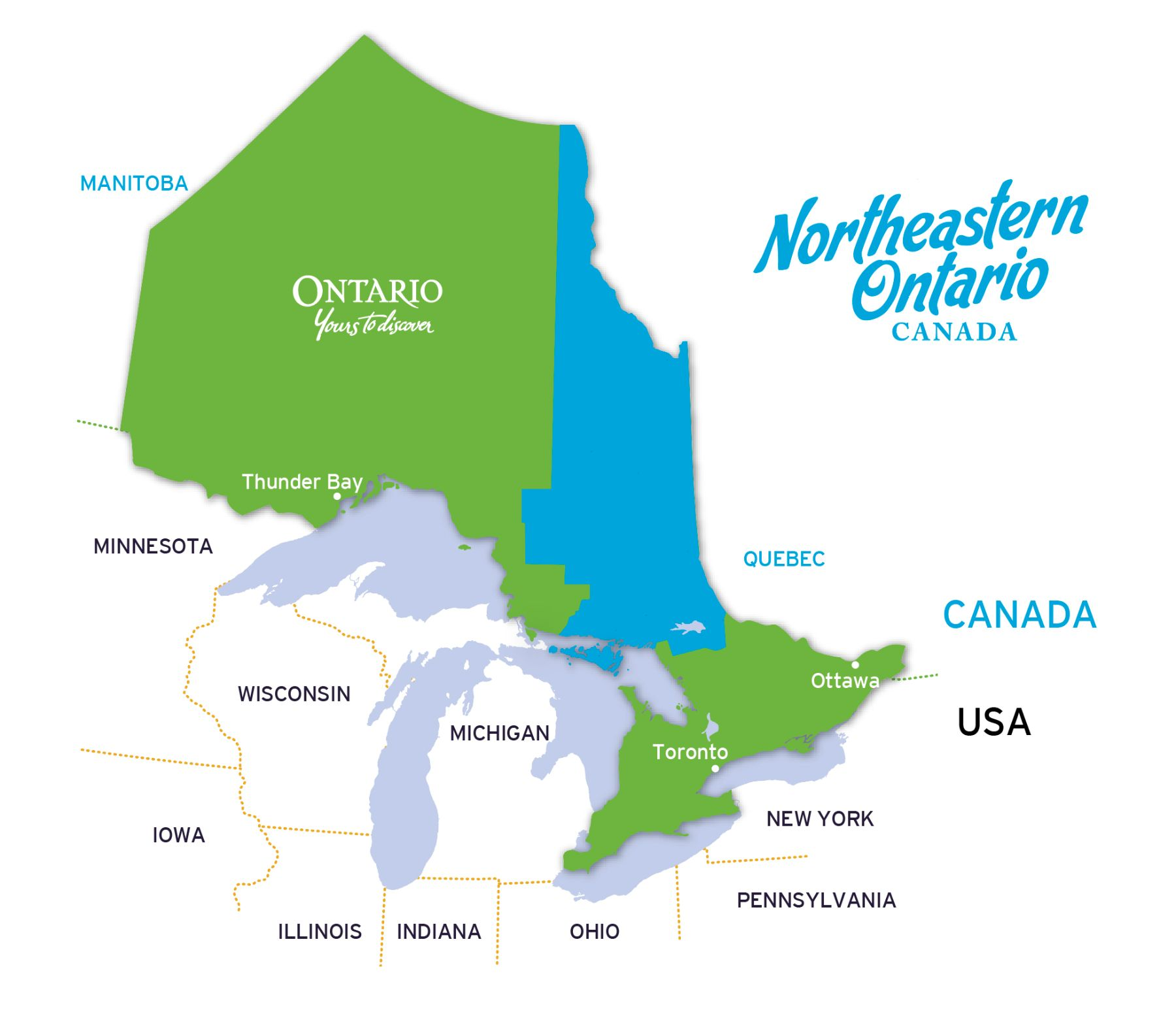 Getting to Northeastern Ontario - Map of the Region
